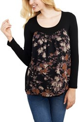 Maternal America Women's Chiffon Knit Maternity Top Black Lilac Floral Print