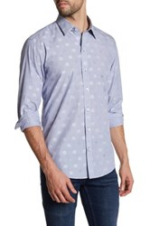 Zachary Prell Horwitz Long Sleeve Polka Dot Stripe Woven Shirt Blue