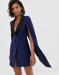Lavish Alice Navy Tuxedo Cape Dress With Contrast Black Satin Lapel