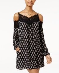 American Rag Printed Crochet Trim Cold Shoulder Shift Dress Only At Macy's Classic Black