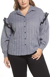 Lost Ink Plus Size Women's Gingham Ruffle Sleeve Shirt Multi