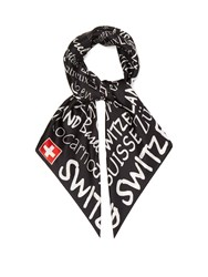 Vetements Switzerland Print Silk Scarf Black
