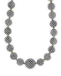 Sterling Silver Caviar Lattice Ball Necklace 17' Silver Gold Lagos