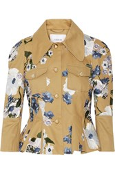 Erdem Shari Embroidered Cotton Canvas Peplum Jacket Tan