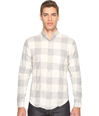 Naked And Famous Regular Shirt Herringbone Buffalo Check Grey White
