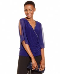 Msk Bejeweled Surplice Party Top