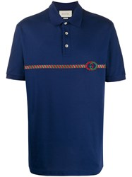 Gucci Embroidered Web Stripe Polo Shirt 60