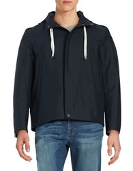 Carlos Campos Hooded Zip Front Jacket Navy