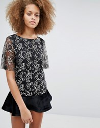 Selected Brina Lace Top Black