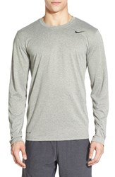 Men's Nike 'Legend 2.0' Long Sleeve Dri Fit Training T Shirt Dark Grey Heather Black