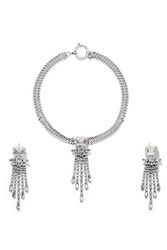 Isabel Marant Silver Tone Crystal Necklace And Earrings Set One Size