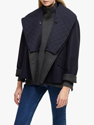 French Connection Carmelita Double Breasted Coat Utility Blue