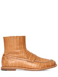 Loewe 10Mm Croc Embossed Leather Loafer Boots Tan
