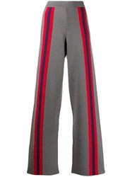 Stella Jean Striped Flared Trousers Grey
