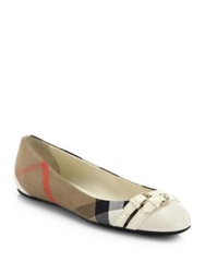 Burberry Avonwick Leather And Canvas Ballet Flats Cream Black Brown