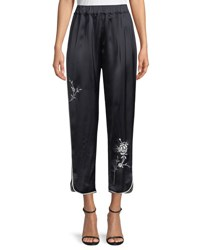 Giada Forte Wide Leg Satin Pants With Floral Embroidery Blue