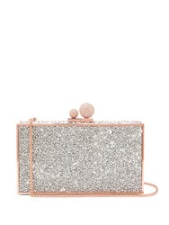 Sophia Webster Clara Crystal Embellished Clutch Bag White Silver