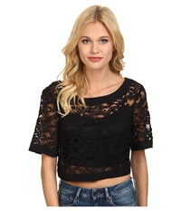 Bcbgeneration Wide Neck Crop Top Black Women's Clothing