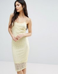 Girls On Film Bodycon Lace Dress Pale Yellow