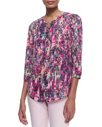 Nydj 3 4 Sleeve Printed Pleated Back Blouse Spring Confetti Women's
