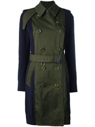 Sacai Contrast Sleeve Trench Coat Blue