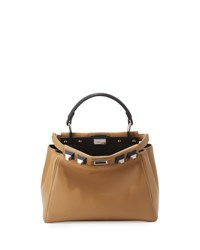 Fendi Peekaboo Small Studded Leather Satchel Bag Olive Ocean