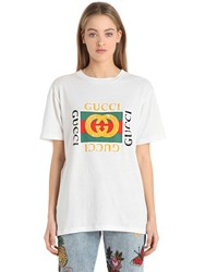 Gucci Logo And Embroidery Cotton Jersey T Shirt