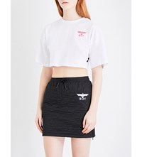 Boy London Eagle Print Cotton Jersey Cropped Top White Red