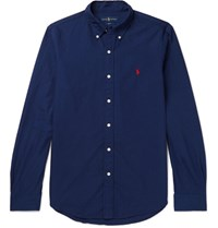 Polo Ralph Lauren Slim Fit Button Down Collar Cotton Shirt Navy