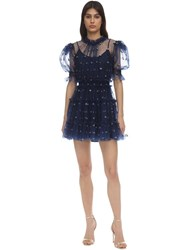 Alice Mccall Floral Flocked Tulle Mini Dress Navy