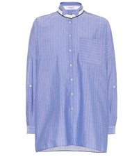 Brunello Cucinelli Striped Cotton Shirt Blue