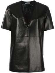 Givenchy V Neck Leather T Shirt Black