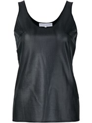 Carolina Herrera Perforated Leather Tank Top Black