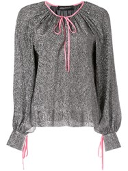 Anna October Ribbon Tied Blouse Grey