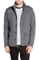 Kane And Unke Men's Trim Fit Military Jacket Charcoal