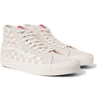 Vans Og Sk8 Hi Lx Checkerboard Canvas And Suede High Top Sneakers Cream