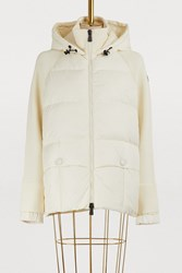 Moncler Knit And Down Cardigan White