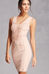 Forever 21 Crochet Lace Bodycon Dress Nude