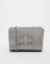 Miss Kg Tarbiat Silver Sparkle Clutch With Cross Body Chain
