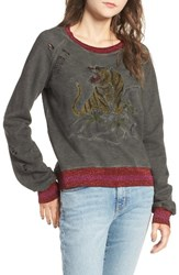 Pam And Gela Women's Embroidered Split Back Sweatshirt