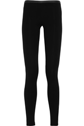 Emilio Pucci Leather Paneled Stretch Jersey Leggings Black