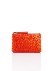 Shanghai Tang Cloud Quilted Leather Flat Pouch Orange Red