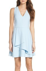 Adelyn Rae Women's Asymmetrical Crepe Fit And Flare Dress Cool Blue
