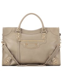 Balenciaga Classic Metallic Edge City Leather Tote Beige