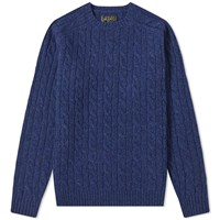 Beams Plus Cable Crew Knit Blue