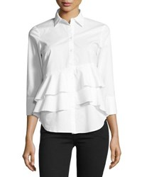 Neiman Marcus 3 4 Sleeve Tiered Hem Top White