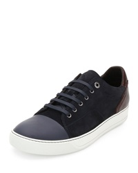 Lanvin Low Top Sneaker With Contrast Heel Blue