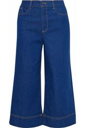 Alice Olivia Cropped High Rise Wide Leg Jeans Blue
