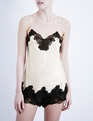 Nk Imode Morgan Stretch Lace And Silk Satin Camisole Champagne Black Lace