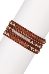 Chan Luu 18K Yellow Gold Plated Sterling Silver Red Hematoid Dyed Jade And Japanese Seed Bead Wrap Bracelet Beige